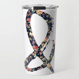 Vintage Floral Ampersand Retro Girly Typography Travel Mug