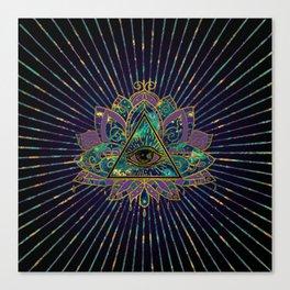 All Seeing Mystic Eye in Lotus Flower Canvas Print