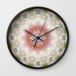 Pink Chrysanthemums Kaleidoscope Art 3 Wall Clock