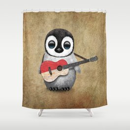 Baby Penguin Playing Indonesian Flag Acoustic Guitar Shower Curtain