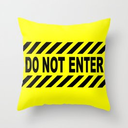 Yellow And Black Do Not Enter Sign Throw Pillow