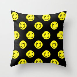 Tennis ball, pattern of yellow smiley faces on black background Throw Pillow