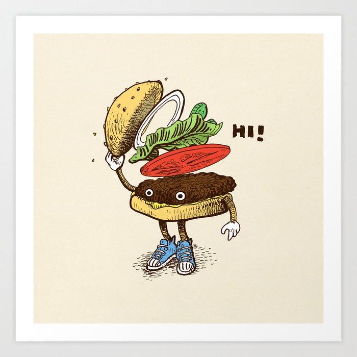 Burger Greeting Art Print