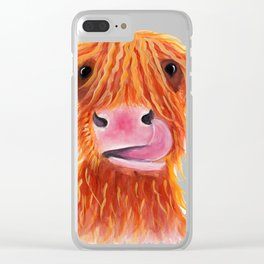 Scottish Highland Cow ' GaRLiC ' by Shirley MacArthur Clear iPhone Case