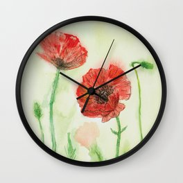 Soft Red Poppies Wall Clock