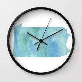 Watercolor State Map - Pennsylvania PA blue greens Wall Clock
