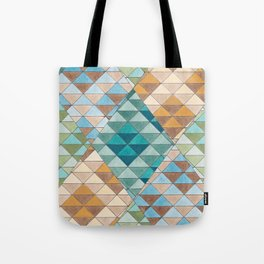 Triangle Patter No.15 Shifting Teal and Yellow Tote Bag
