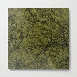 Olive Green Hunting Camo Pattern Metal Print