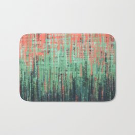 Coral Mint Navy Abstract Bath Mat