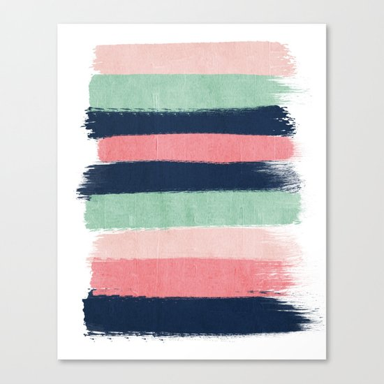 Painted stripe stripes mint navy pink modern color palette painterly minimalist nursery art Canvas Print