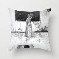 school Throw Pillows featuring school by woman