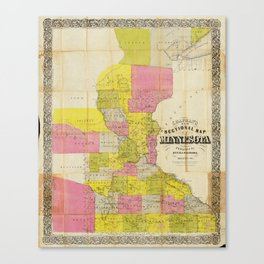 Chapman's New Sectional Map of Minnesota (1856) Canvas Print