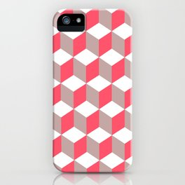 Diamond Repeating Pattern In Poppy and Soft Grey iPhone Case
