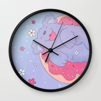 donut Wall Clocks featuring Donut by Nandi Appleby