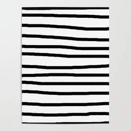 Simply Drawn Stripes in Midnight Black Poster