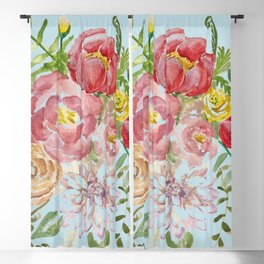 Bouquet of Watercolor on Blue Background Blackout Curtain