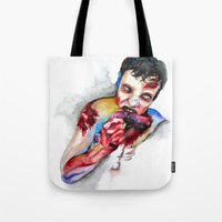 zombie Tote Bags featuring Zombie by Camille Ratté