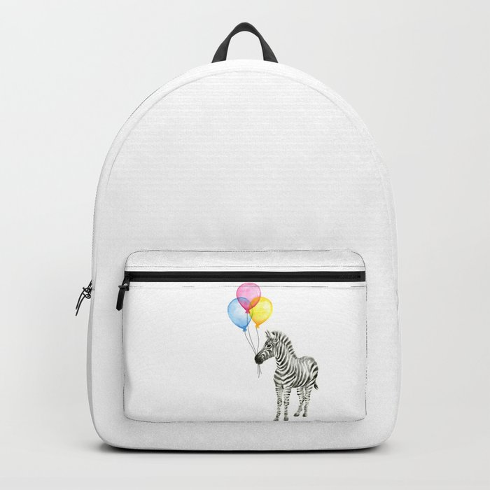 Zebra with Balloons Watercolor Baby Animals Backpack