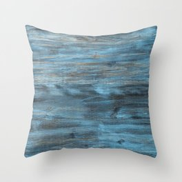 Rustic Weathered Beach Coastal Chic Beige Grey Aqua Blue Turquoise Woodgrain Throw Pillow