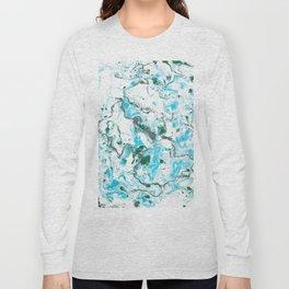 White and blue Marble texture acrylic Liquid paint art Long Sleeve T-shirt