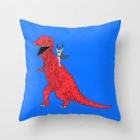 dinosaur Throw Pillows featuring Dinosaur B Forever by Isaboa