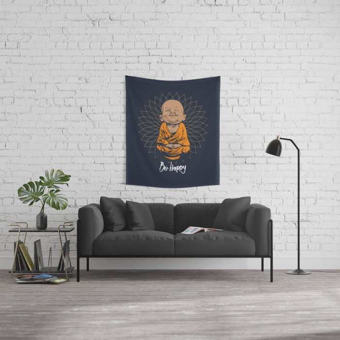 Be Happy Little Buddha Wandbehang