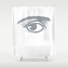 I see you. Gray on White Shower Curtain