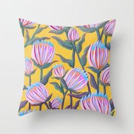Bold Protea Flower Pattern - Pink Blue Green Purple Yellow Throw Pillow