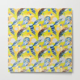 Abstract geometric hand painted blue yellow black polka dots feathers Metal Print