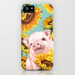 Baby Pig with Sunflowers in Blue iPhone Case