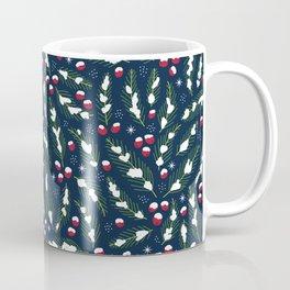 Winter Berries in Navy Coffee Mug