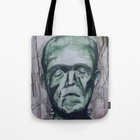 frankenstein Tote Bags featuring Frankenstein by Shellie Mix