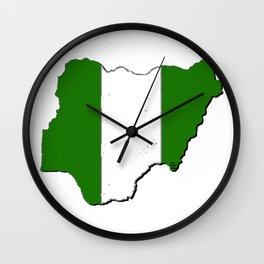 Nigeria Map with Nigerian Flag Wall Clock