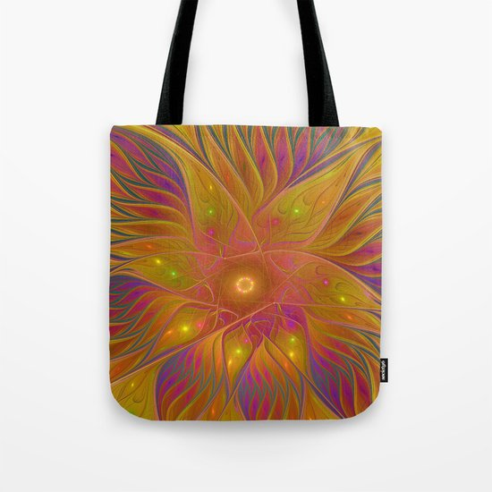Colorful and Luminous Flower, Abstract Fractal Art Tote Bag