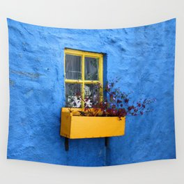 FLOWER - BOX - YELLOW - BLUE - WALL - PHOTOGRAPHY Wall Tapestry