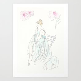 Aqua Ballerina Taking a Breather Art Print
