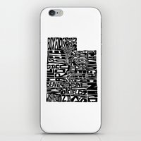 utah iPhone & iPod Skins featuring Typographic Utah by CAPow!