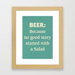 Beer illustration quote, vintage Pub sign, Restaurant, fine art, mancave, food, drink, private club Framed Art Print