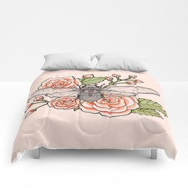 Cicada with Roses - Pink Comforters