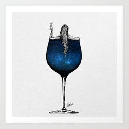 Wine night. Art Print