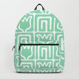 Mid Century Flower Garden Pattern 381 Mint Green Backpack