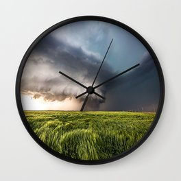 Leoti's Masterpiece - Incredible Storm in Western Kansas Wall Clock