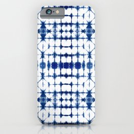 Shibori indigo squares iPhone Case