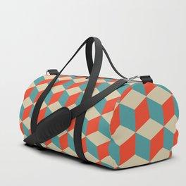 cube pattern blue orange cream Duffle Bag