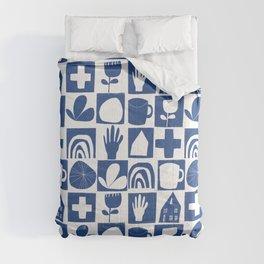 Blue Cutout Tile Comforters