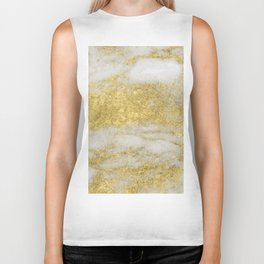 Marble - Glittery Gold Marble and White Pattern Biker Tank