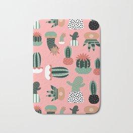 Succulents Pink Bath Mat