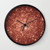 rose gold Wall Clocks featuring rose gold stars by GalaxyDreams