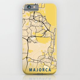 Majorca Yellow City Map iPhone Case