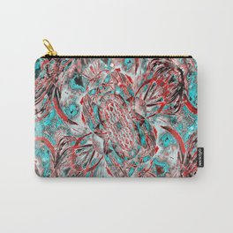 Teal and Pink Floral Fashion Carry-All Pouch